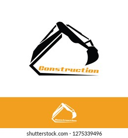 Excavator  logo for construction company, dozer silhouette, wheel loader modern icon