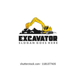 Excavator logo design template vector