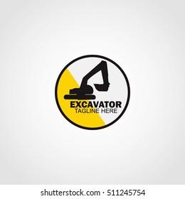 Excavator Logo Design Template. Vector Illustration