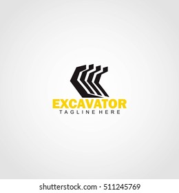Excavator Logo Design Template. Vector Illustration