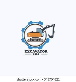 Excavator logo design. Excavator working icon