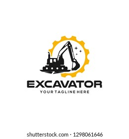 Excavator logo designs template vector