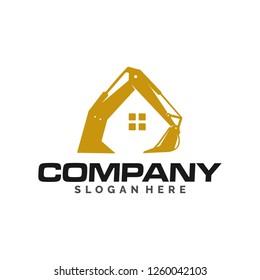 excavator logo illustration, template, construction logo