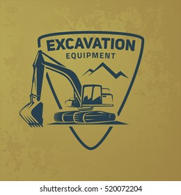 Excavator logo on grunge background.