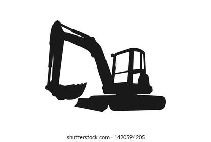 Excavator logo template. Heavy equipment logo vector for construction company. Creative excavator illustration for logo template.