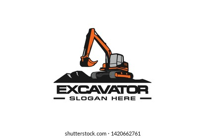 Excavator logo template. Heavy equipment logo vector for construction company. Creative excavator illustration for logo template.