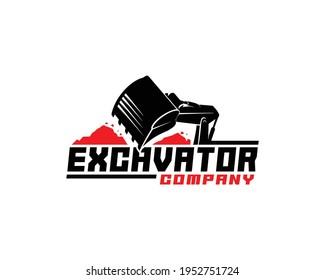 Excavator logo template, heavy equipment for construction logo