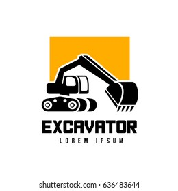 excavator logo template isolated on white background