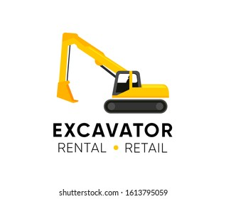 Excavator logo template with Title company and Tagline. Illustration with yellow Excavator for Retail Shop, Rental or Repair Vehicles.