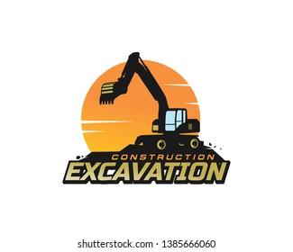 Excavator logo template vector. Heavy equipment logo vector for construction company. Creative excavator illustration for logo template.
