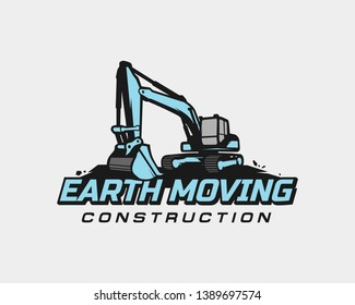 Excavator logo template vector. Heavy equipment logo vector for construction company. Creative excavator illustration for logo template.