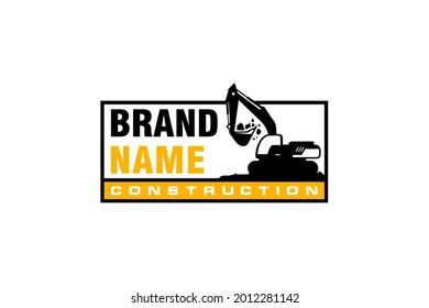 Excavator logo template vector. Heavy equipment logo vector for construction company. Creative excavator illustration for logo.