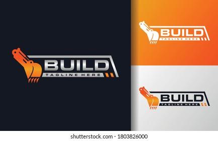 the excavator machine construction logo