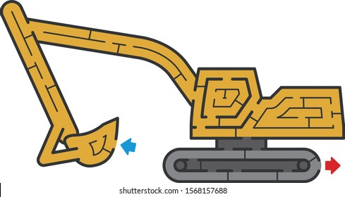 Excavator maze. It is suitable for brain training.
