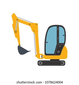 Excavator mini icon equipment machine. Isolated excavate shovel bulldozer loader scoop transportation dig. Illustration vector vehicle. Digger construction power machinery mover symbol work.