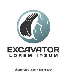 Excavator with Mountain Vector Logo Concept. Excavator logo. Excavator isolated. Digger, construction, backhoe, construction business icon. Construction equipment design elements.