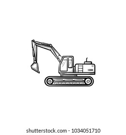 Excavator with moving backhoe hand drawn outline doodle icon. Machinery vector sketch illustration for print, web, mobile isolated on white background. Construction industry and machinery concept.