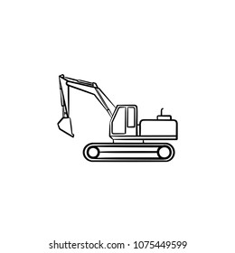 Excavator with moving backhoe hand drawn outline doodle icon. Buldozer vector sketch illustration for print, web, mobile isolated on white background. Construction industry and machinery concept.