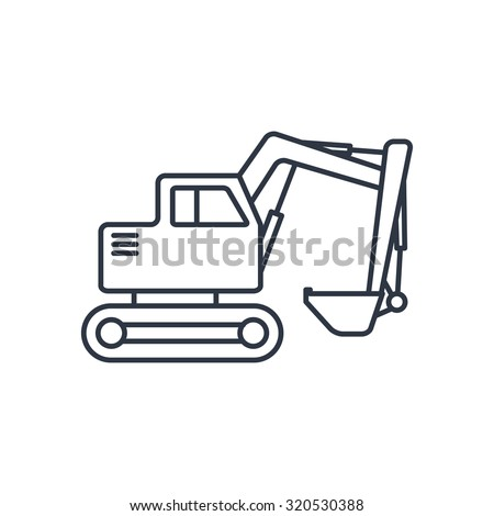 Excavator Outline Icon Stock Vector Royalty Free 320530388
