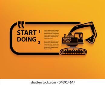 Excavator Quotation Mark Speech Bubble,design