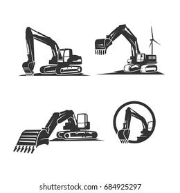 excavator services logo template vector