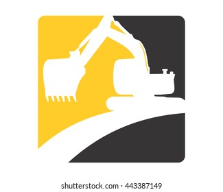excavator silhouette excavation heavy machinery builder image vector icon logo
