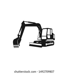 Excavator Silhouette Vector Logo Template. construction, vector illustration