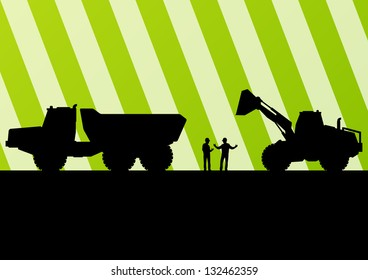 Excavator tractor, bulldozer and truck silhouettes illustration in construction site mining background vector