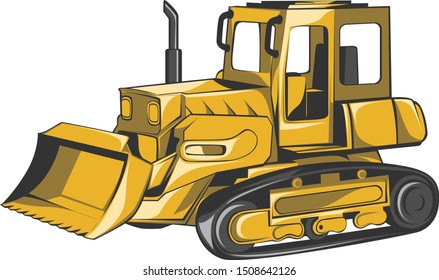 Excavator Tractor Vector Construction Vehicles