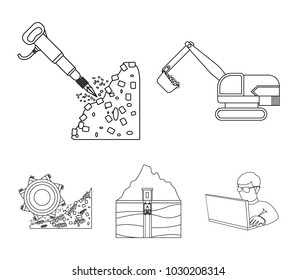 mine elevator images stock photos vectors shutterstock Elevator Shaft Pit excavator tunnel elevator coal harvester and other equipment mine set collection icons