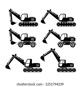 Excavator vector icons on white background