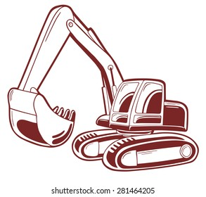 Excavator vector illustration isolated on white.