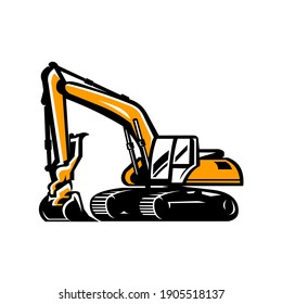 Excavator vector image, heavy construction dig equipment vector isolated
