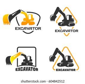 Excavator Vector Logo Set Template