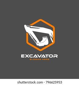 Excavator Vector Logo Template. construction, vector illustration
