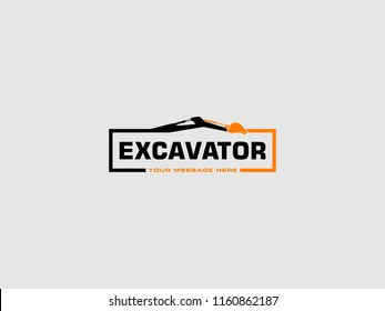Excavator Vector Logo Template. logo for heavy equipment,construction,industrial etc, vector illustration