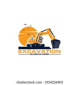 Excavator Vector Logo Template. excavator machine construction logo