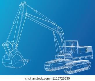Excavator. Wire-frame. EPS10 format. Vector rendering of 3d