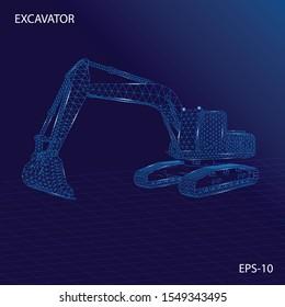 Excavator wireframe futuristic design concept vector illustration of construction equipment