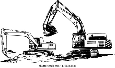 Excavators on a construction site or in a quarry