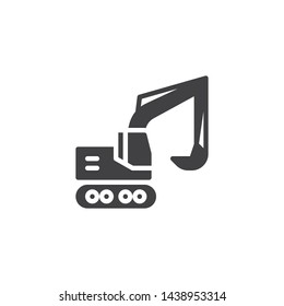 Excavator,truck vector icon. Construction transport filled flat sign for mobile concept and web design. Crawler digger glyph icon. Symbol, logo illustration. Vector graphics