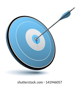 Excellence concept. One arrow hit the center of a blue target, vector image suitable for business or marketing purpose.