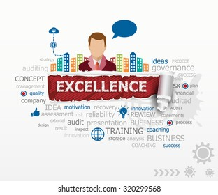 Excellence concept word cloud and business man. Excellence design illustration concepts for business, consulting, finance, management, career.