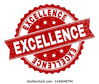 EXCELLENCE seal imprint with distress texture. Rubber seal imitation has round medallion form and contains ribbon. Red vector rubber print of EXCELLENCE caption with grunge texture.