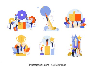 Excellence, success, motivation, achievement, success, win, innovation set concept. Business people businessmen women managers with like, approval. Exellence motivation or goal achievement.