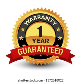 Excellent 1 year warranty guaranteed gold badge, seal, sign with red ribbon isolated on white background.