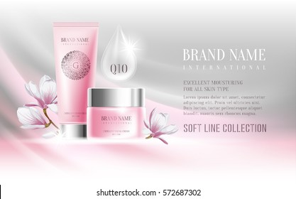 Excellent cosmetic ads, facial cream and hand cream. For announcement sale or promotion new product. Pink cream bottles on soft background with glitters and flowers magnolia. Vector illustration.