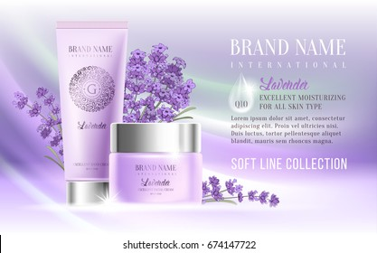 Excellent cosmetic ads, facial cream and hand cream. For announcement sale or promotion new product. Realistic ream bottles on soft background with lavender flowers. Vector illustration.