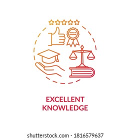 Excellent knowledge concept icon. School of jurisprudence. Law university. Academic legal education idea thin line illustration. Vector isolated outline RGB color drawing