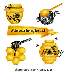 Excellent quality watercolor texture. Set of icons on a theme watercolor honey. Drawings ink, watercolor drawing.